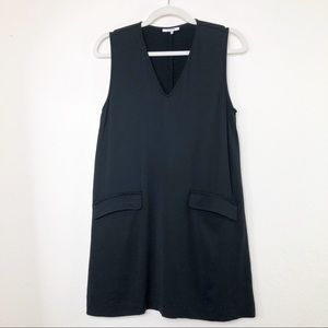 Ganni Sleeveless Shift Dress V-neck Pockets Black